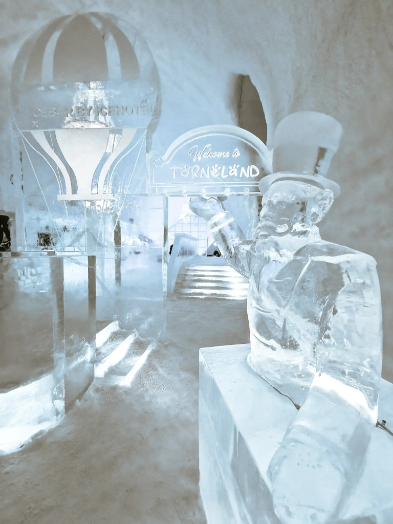 Ice sculptures inside the ice hotel in Sweden.