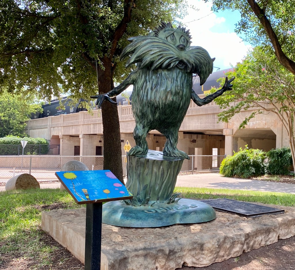 The Lorax Sculpture, part of the Dr Seuss Storybook Sculptures, in Everman Park