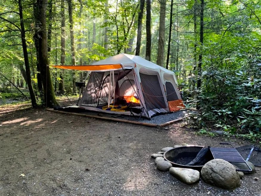Our tent and campsite at the Elkmont Campground in the Great Smoky Mountains National Park.