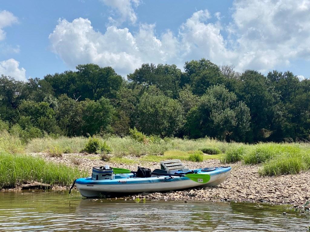 Kayak paddling the Brazos river, Texas