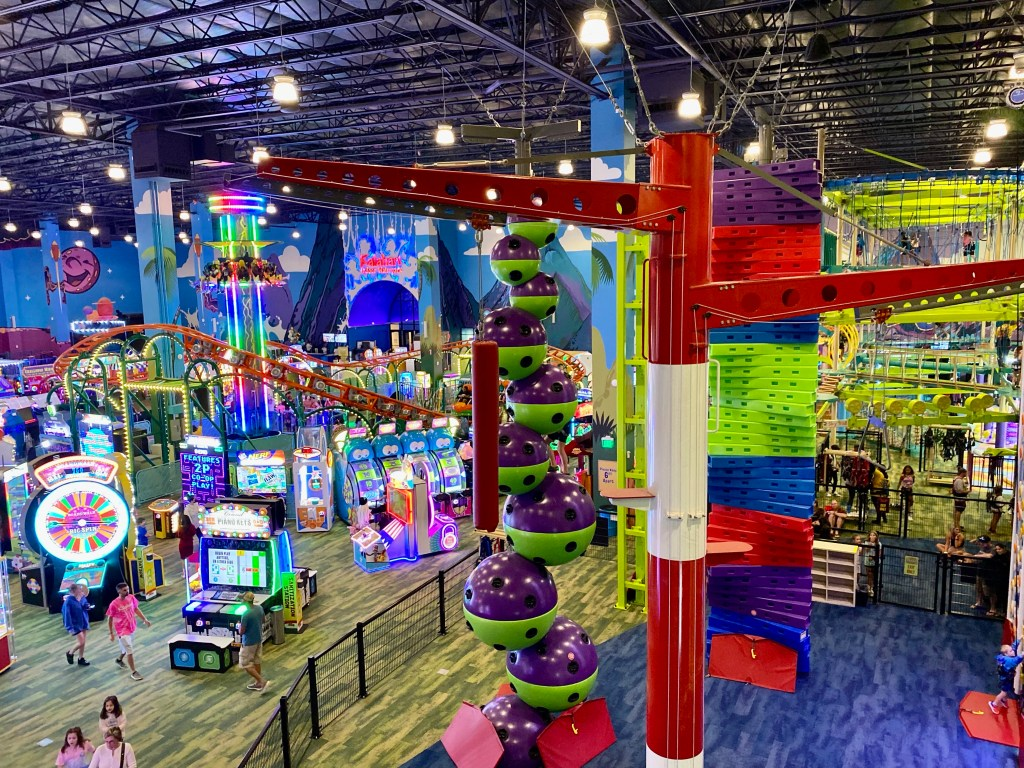 Kalahari Resort in Round Rock, Texas boast a huge gameroom with zip lines, climbing structures, escape rooms, bowling and America's largest indoor waterpark!