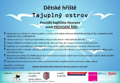 Provozní řád dětského hřiště Tajuplný ostrov Veltrusy
