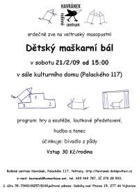pozvánka na maškarní v rámci masopustu dne 21/2/09