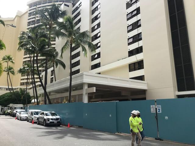 ハワイ、ハレクラニホテル改修工事がちゃくちゃくと進んでいます。