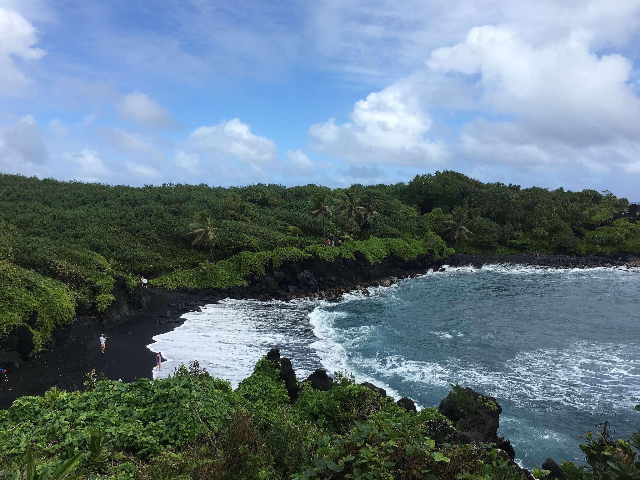 schwarzer Strand auf Maui