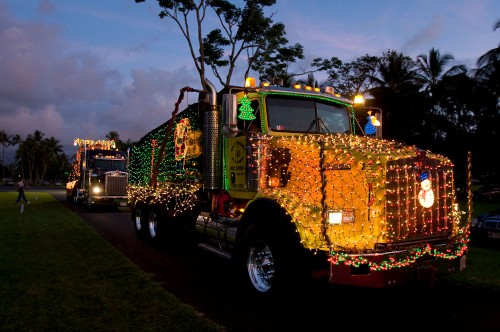 Kai's Trucking in the Lehua Jaycees Island Style Christmas parade in Hilo.