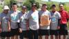 Head Coach Earl Tamiya, Kyeton Littel, Chris Shimomura, Dalen Yamauchi, Corey Kozuma, Christian Agosto and Assistant Coach Ron Takahashi. Photo courtesy of UH-Hilo