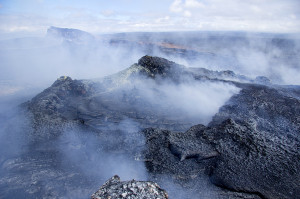 While the top of the Northeast spatter cone is often open, revealing a small lava pond, on June 17, 2014 its top was sealed shut. This has happened several times over the past year, and is likely a temporary situation. View is toward the northwest. Photo courtesy of USGS/HVO