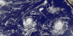 Hawaii, Hurricane Ignacio and Hurricane Jimena in this image taken at 8 a.m. HST Friay, August 28, 2015. Photo courtesy of NOAA-NASA GOES Project