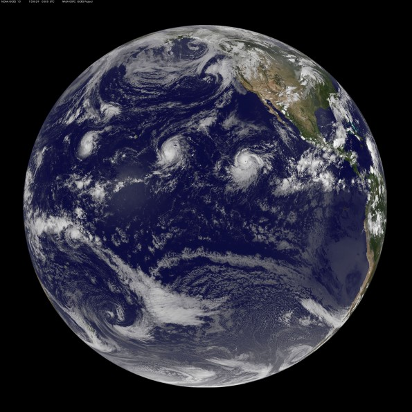Full earth image taken at 2 p.m. HST Friday, August 28, 2015. Photo courtesy of NOAA-NASA GOES Project