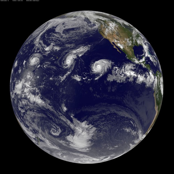 Full earth image taken at 5 p.m. HST Saturday, August 29, 2015. Photo courtesy of NOAA-NASA GOES Project