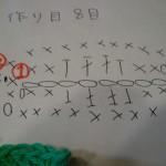 これまた見づらくて申し訳ないです。。これが葉っぱの編み図