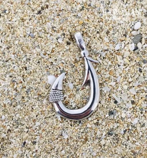 hawaiian silver opal single barb fish hook