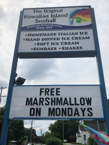 original hawaiian island snoball sign italian ice, ice cream, sundaes, holbrook, md