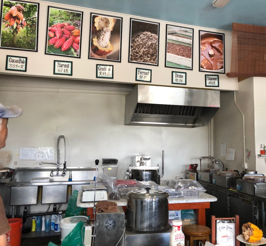 Hawaiian Crown Chocolate Factory, chocolate processing, machines, store, Hilo