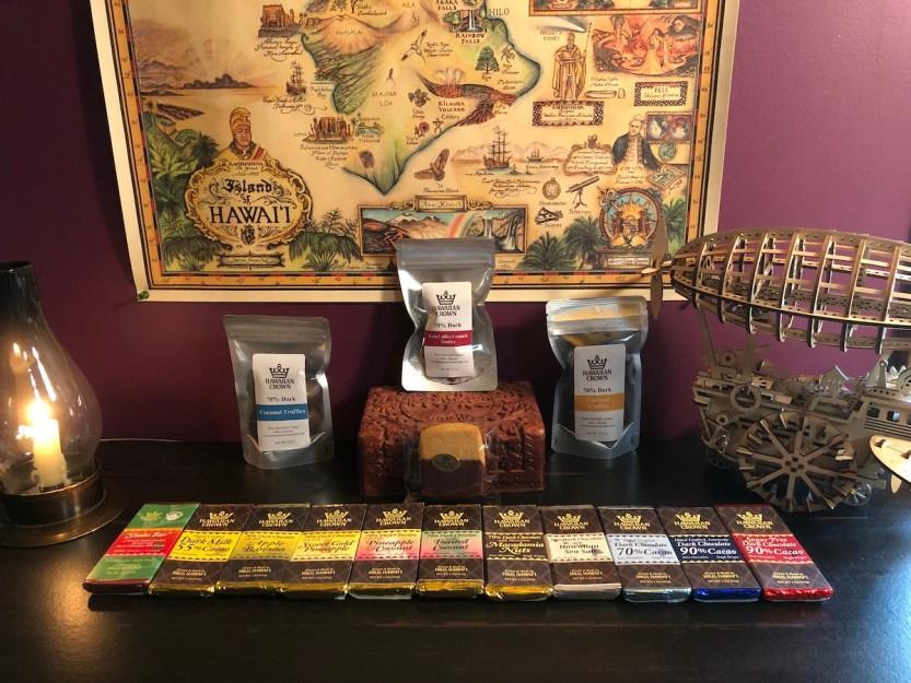 Hawaiian Crown Chocolate Factory, Hawaii Cacao Express purchase, chocolate bars, chocolate truffles, chocolate dipped breadfruit shortbread cookie