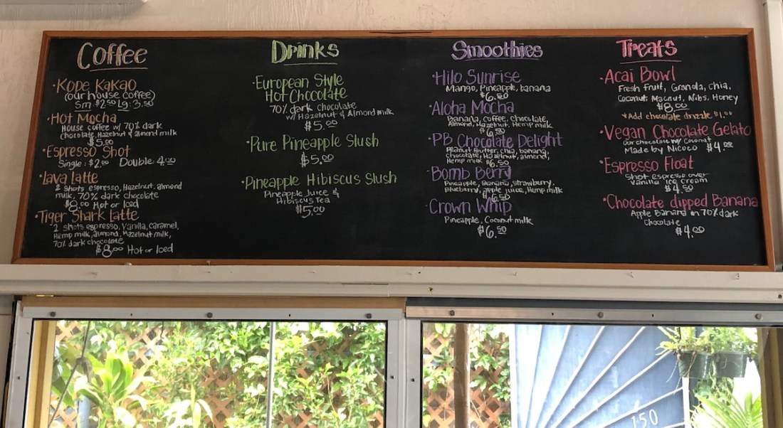 Hawaiian Crown Chocolate Factory, menu board, store, Hilo