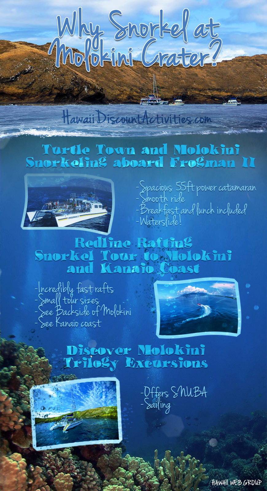 why snorkel at molokini crater infographic