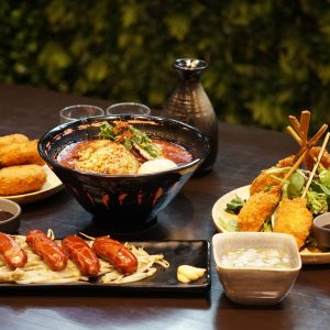 Tanaka Garlic Volcano Ramen, Arabiki Sausage, Clam Chowder Croquettes, Seafood & Vegetables Kushi Katsu, Tako Wasabi