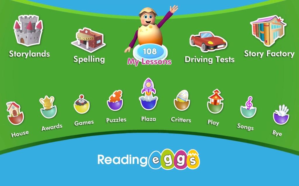 Reading Eggs Menu Screen