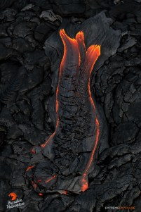 Directly above a finger of lava is the BEST vantage point!