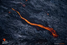 A closer view of the river of lava in the previous image.