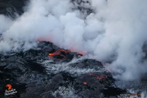 The Kamokuna ocean entry continues to be active with multiple streams of lava entering the sea, creating a huge steam plume.