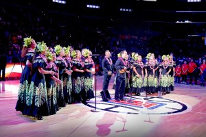 Daniel Ho, backed by a hula halau, gave a beautiful rendition of the National Anthem.