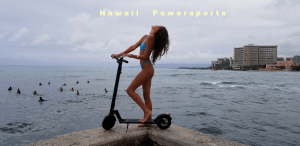 Hawaii Powersports® Electric Foot Kick Scooter and Girl
