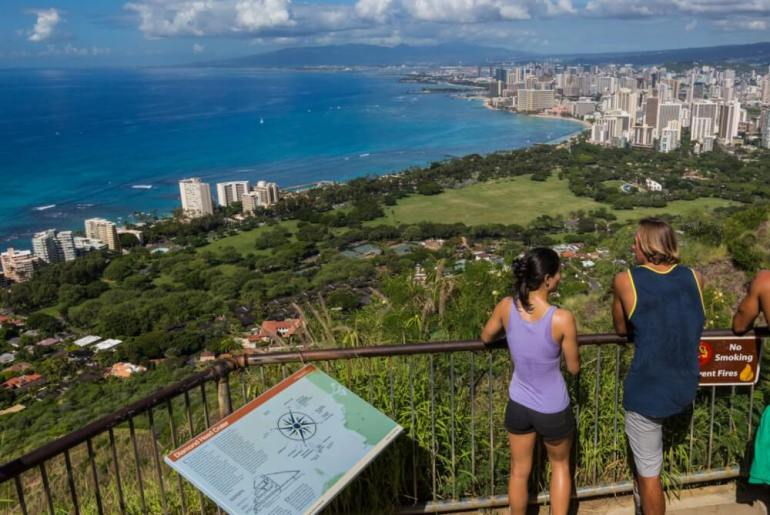 Hawaii on a Budget: Best Frugal Things to Do with Teens in Hawaii featured by top Hawaii blog, Hawaii Travel with Kids: Top 6 Free Things to Do on Oahu featured by top Hawaii blog, Hawaii Travel with Kids: Diamond Head is a kid-friendly Oahu hike