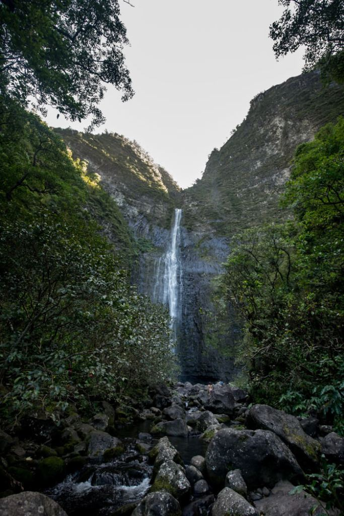 Image of Hanakapiai Falls on Kauai, one of the best Kauai waterfalls.