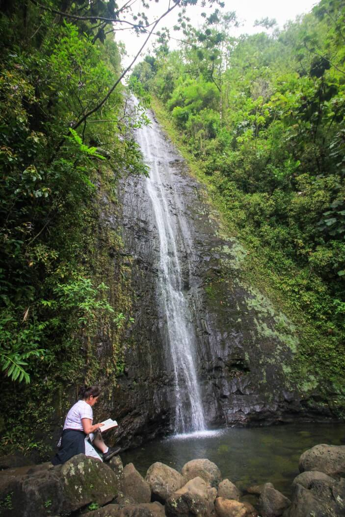 12 Breathtaking Oahu Waterfall Hikes featured by top Hawaii travel blog, Hawaii Travel with Kids | Manoa Falls is one of the most popular waterfall hikes on Oahu | Waterfall hikes oahu