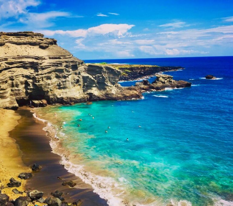 The Best Things to Do in Kona, Hawaii featured by top Hawaii blog, Hawaii Travel with Kids: Papakolea Green Sand Beach in Kona, Big Island