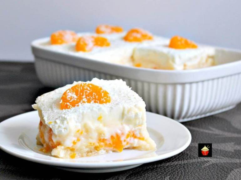 61 Delicious Coconut Dessert Recipes Perfect for Summer featured by top Hawaii blog, Hawaii Travel with Kids:Easy Mandarin Dessert. Amazingly easy and so delicious. Simply OUT OF THIS WORLD! | Lovefoodies.com