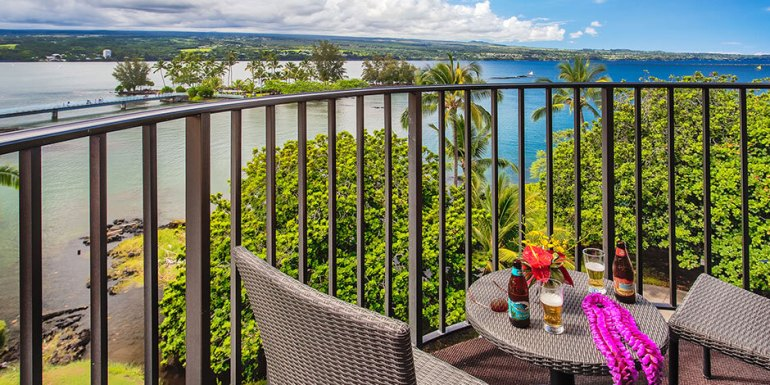 Where to Stay on the Big Island: Kona or Hilo, tips featured by top Hawaii blog, Hawaii Travel with Kids: View of the ocean from the Castle Hilo Hawaiian Hotel on the Big Island of Hawaii