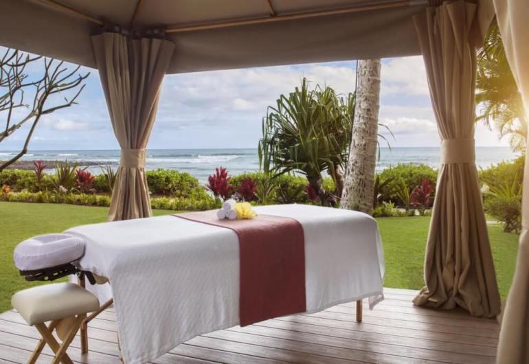 Oceanside massage bungalow at the Ko'a Kea Resort on Kauai