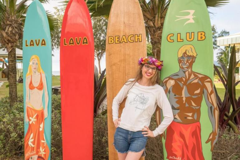 Top 12 Best Photo Opportunities on Kauai featured by top Hawaii travel blog, Hawaii Travel with Kids: Lava Lava Beach Club has their own Instagrammable spot on Kauai for photos.