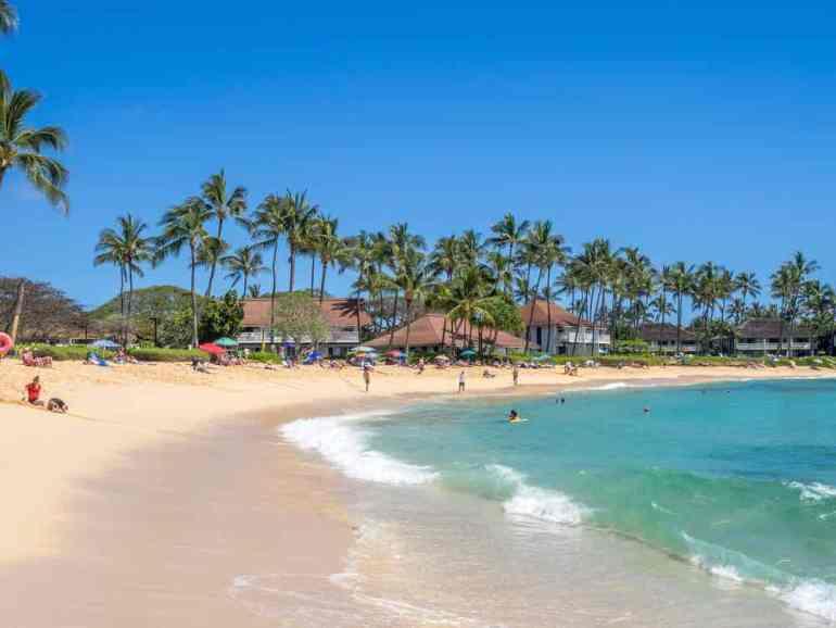 Poipu Beach Park is a great place to enjoy sunset on Kauai.