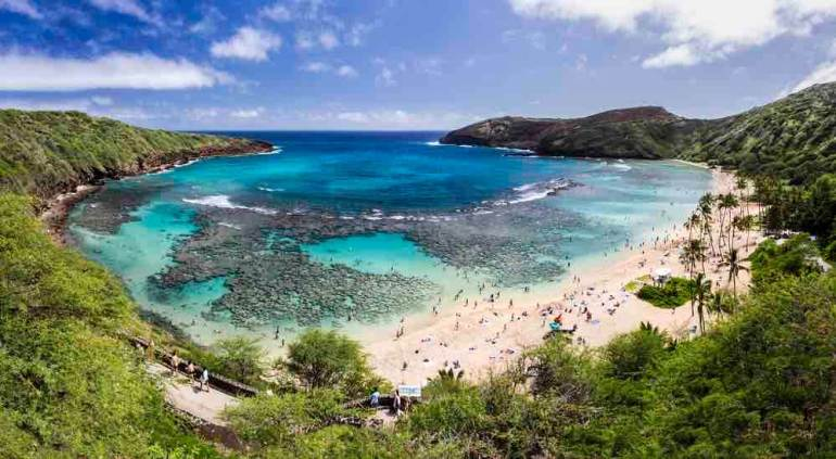 Snorkelling at the coral reef of Hanauma Bay, a former volcanic crater, now a national reserve. Image of a large bay with a coral reef surrounded by greenery.