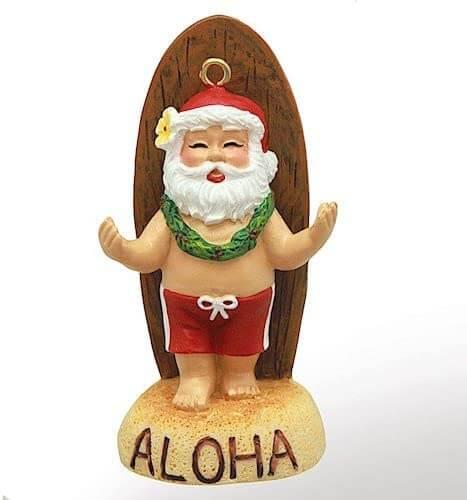 20 Hawaiian Christmas Ornaments featured by top Hawaii blogger, Hawaii Travel with Kids: Hawaiian Santa ornament