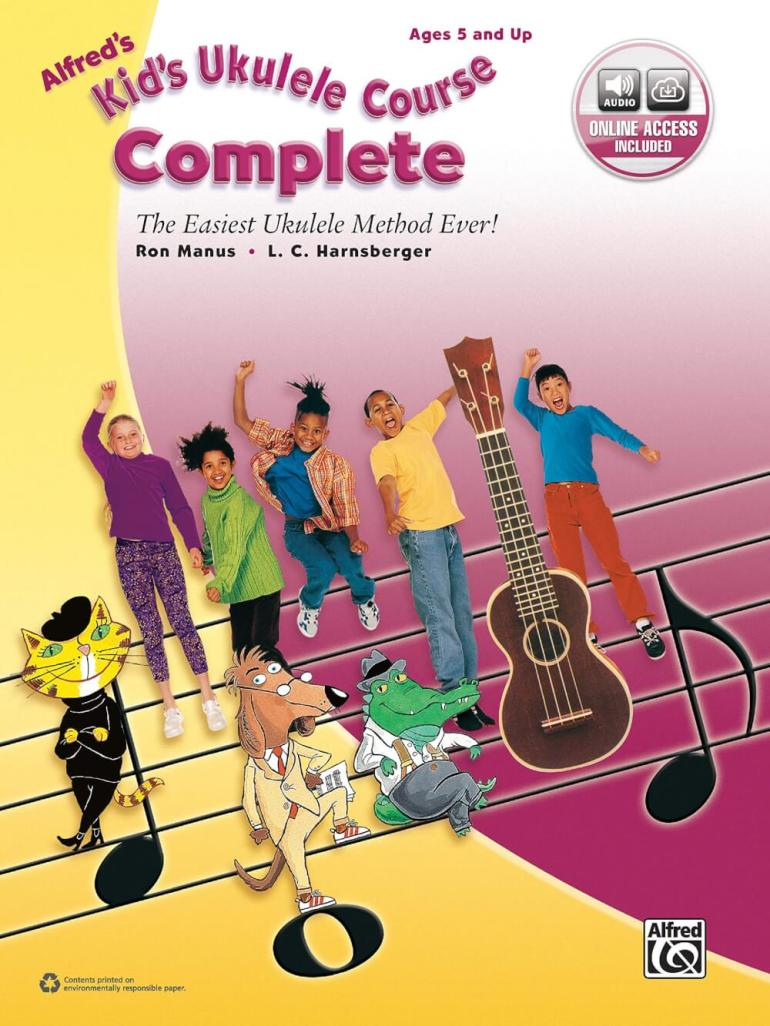 Find out the best kids ukulele book to buy in this ukulele guide by top Hawaii blog Hawaii Travel with Kids. Image of Alfred's Kid's Ukulele Course Complete