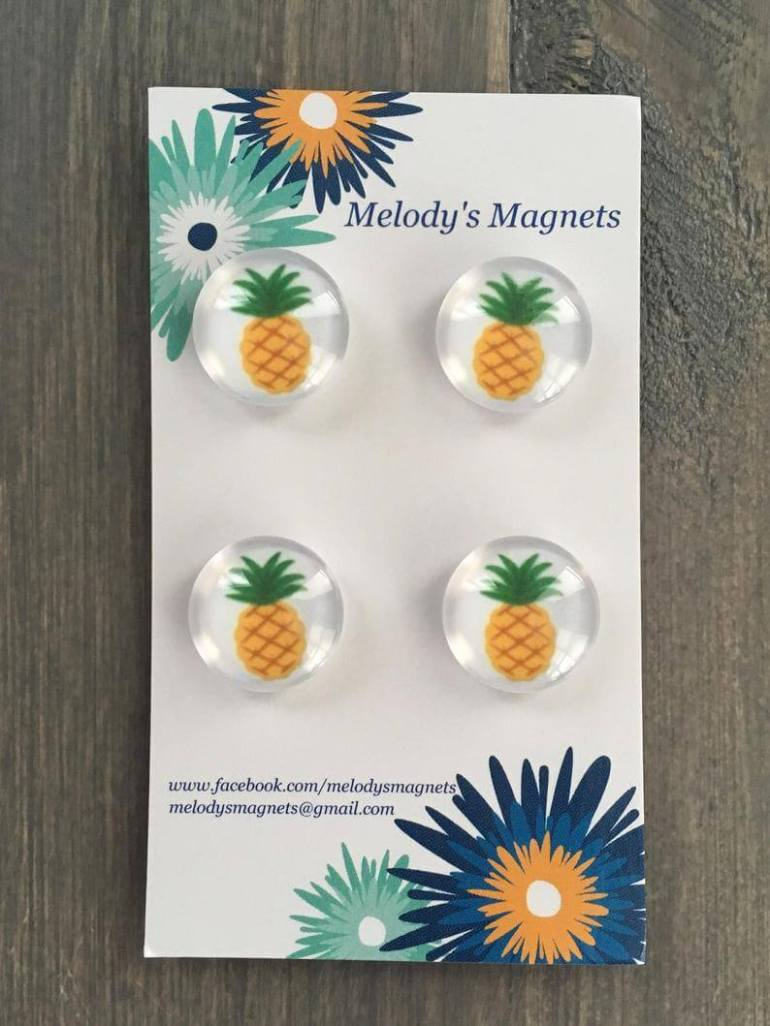 Cute Pineapple Gifts from Etsy featured by top Hawaii blog, Hawaii Travel with Kids: Pineapple Magnets image 0