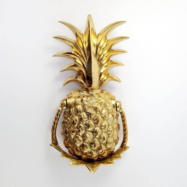 Cute Pineapple Gifts from Etsy featured by top Hawaii blog, Hawaii Travel with Kids: Large 10 Polished solid Brass Pineapple Door Knocker POLISHED BRASS