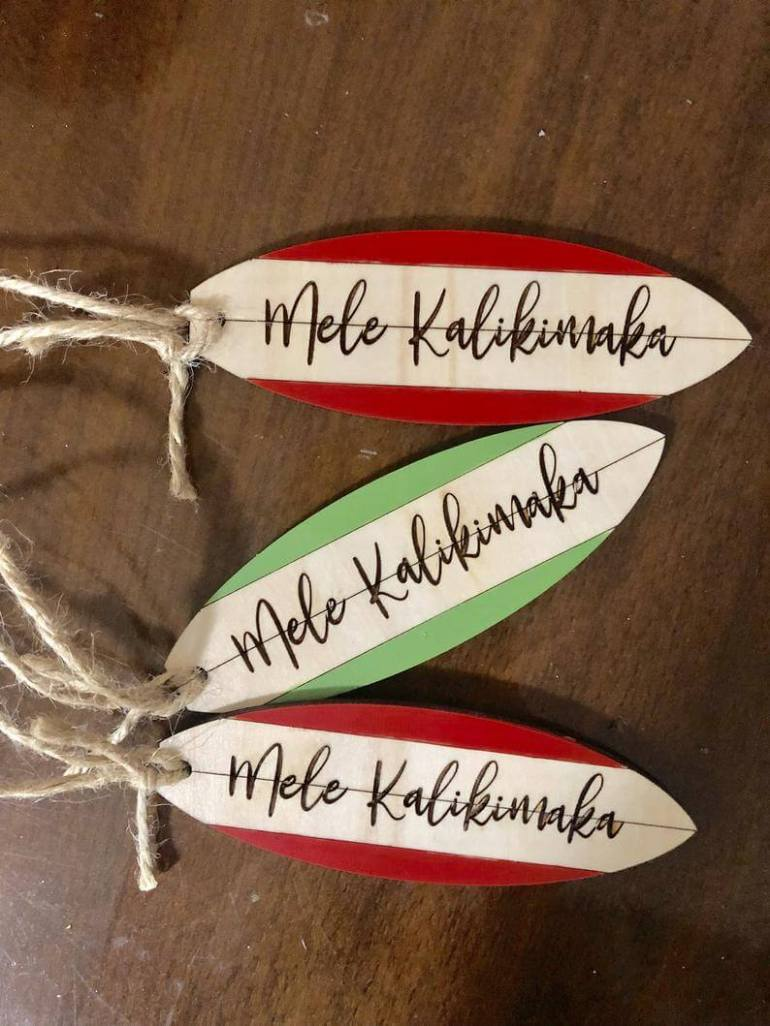 Hawaii Surfing Gifts featured by top Hawaii blog, Hawaii Travel with Kids: Mele Kalikimaka Ornament image 0