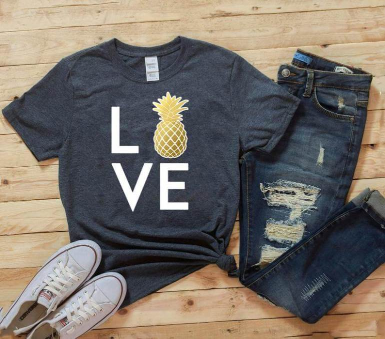 Cute Pineapple Gifts from Etsy featured by top Hawaii blog, Hawaii Travel with Kids: Love Pineapple T Shirt Love T Shirt Pineapple T Shirt image 0