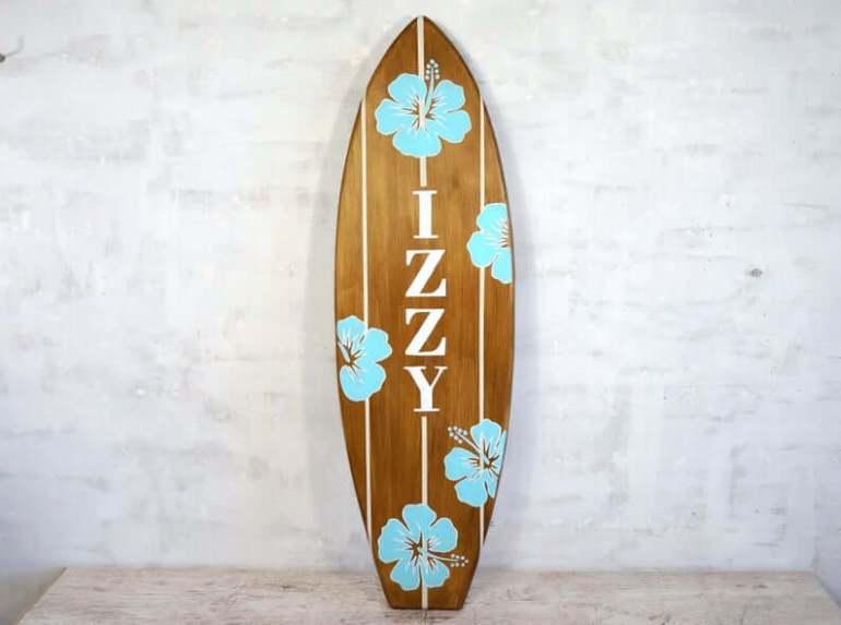 Hawaii Surfing Gifts featured by top Hawaii blog, Hawaii Travel with Kids: Surfboard wall art custom design decorative surf board image 0