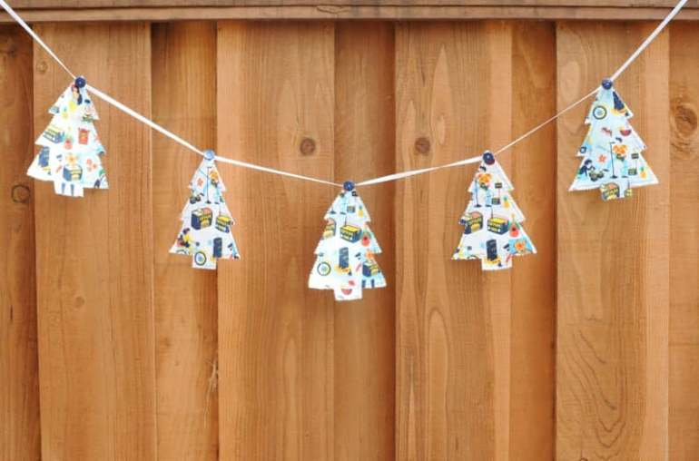 Best Hawaiian Christmas Decorations featured by top Hawaii blogger, Hawaii Travel with Kids: Add some Hawaiian Christmas decorations to your home this holiday season with these top Hawaii Christmas decorations ideas from top Hawaii blog Hawaii Travel with Kids. Image of SPAM Christmas Tree Bunting