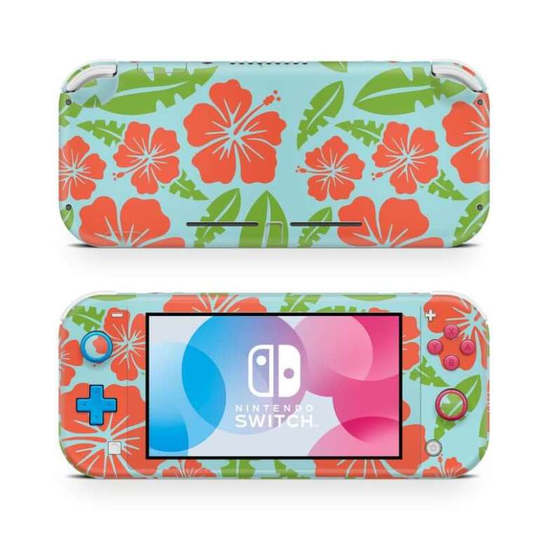 Hawaiian toys and Hawaiian gifts for kids by top Hawaii blogger Hawaii Travel with Kids: Tropical Red Hibiscus Nintendo Switch Lite Wrap Skin image 0