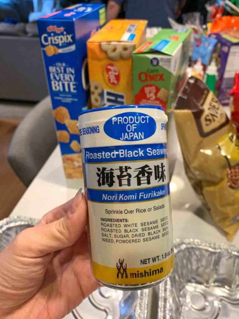 Check the brand of furikake before you make this furikake chex mix recipe from Hawaii. Image of a bottle of furikake.