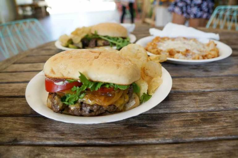 One of our favorite Kauai food trucks is Kickshaw's at Warehouse 3540 in Lawai. Image of the Awesome burger from Kickshaw's food truck.